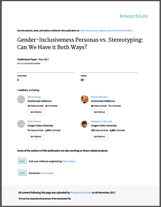 ResearchGate shitty cover page